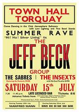 EX Yardbirds Jeff Beck Group Concert Poster Torquay '67