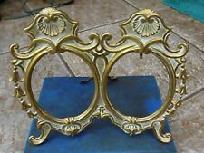 Vintage Solid Brass Art Nouveau Style Free Standing DOUBLE PICTURE PHOTO FRAME