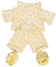 """YELLOW CHICKEN PJ PYJAMAS & SLIPPERS TEDDY OUTFIT FITS 16"""" (40cm) BUILD A BEAR"""