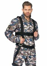 2pc Halloween Costume Military Stud Paratrooper Camo Flight Suit Body Harness XL