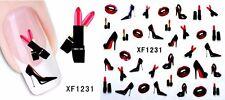 Nail Art de transferencia de uñas Calcomanía Pegatinas de Agua envuelve Labios Lápiz Labial Tacones STZ035