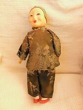 "VINTAGE CHINESE COMPOSITION 11"" DOLL OLD WOMAN with silk clothing hair in bun"