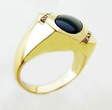 14KT SOLID YELLOW GOLD GENTS ONIX AND DIAMONDS RING  (17287R)