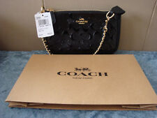 COACH Signature Debossed Patent Leather Large Chain Wristlet~Black~ NWT$225
