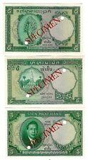 FRENCH INDO CHINA SPECIMEN 3 PIECES 5 PIASTRES 1953 UNC P 95 101 106