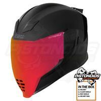 Icon Airflite DLX Rubatone Black Full Face Motorcycle Helmet + Red Shield Visor