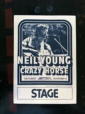 Neil Young Backstage Pass 1976 concert at the Forum - Stage Pass blue