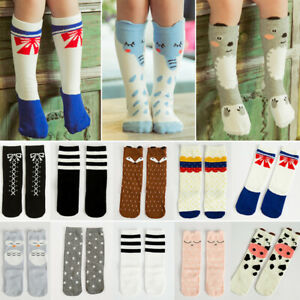 Cute Cartoon Animals Cat Fox Panda Child Kids Girl Knee High Leggings Socks 67UK