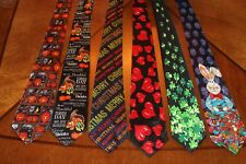 MEN'S LOT'S 6 HOLIDAY NECKTIES THANKSGIVING,CHRISTMAS, EASTER &  PATTYS DAY #04