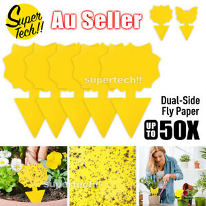 Upto50x Dual Sided Strong Sticky Trap Insect Killer Fruit Fly Whitefly Trap Gnat