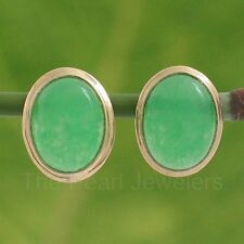 14k Solid Yellow Gold Bezel Setting Oval Cabochon Green Jade Stud Earrings TPJ