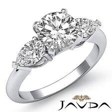 2ct Round Diamond Women's Engagement 3 Three Stone Ring GIA F VS1 14k White Gold