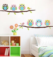 Removable Vinyl Owl Birds Branch PVC DIY Decal Wall Art Sticker Home Decor EY