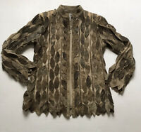 NATTO Women's Sz S Lambskin Leather Mesh Leaf Pattern Zip Front Duster Jacket