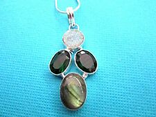 925 Sterling Silver Pendant With Labradorite, Chrome Diopside & Druzy  (nk1432)
