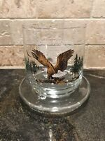 Vintage American Wildlife Bald Eagle Drinking Glass Sunoco Oil Station & Stand!