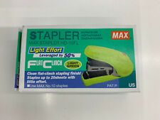 Stapler Max Flat Clinch Ergonomic Mini Style Palm Size Green