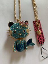 Lovely Betsey Johnson Blue & Rhinestone Kitty Cat Mermaid Necklace-Bj50901
