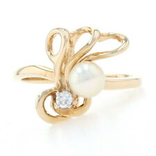 Yellow Gold Cultured Pearl & Diamond Ring - 14k Round Brilliant Cut Curved 5.2mm