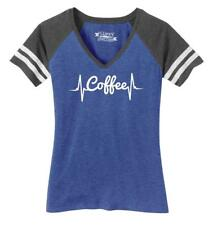 Ladies Coffee Heartbeat Game V-Neck Tee Drink Morning Shirt