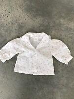 VINTAGE Mayfair Baby Blouse Top G SZ 0-12 Mos Months Floral White Buttondown