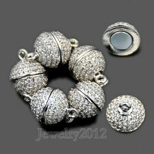 Zircon Magnetic Round Clasp Micro Pave Connector For Bracelet Necklace Making