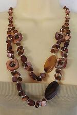 New Women Fashion Long Necklace Brown Retro 2 Strand Beads Geometric Shape Retro