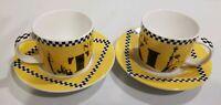 Studio Nova New York Taxi Fine Porcelain Demitasse Pair of Tea Cups Saucers 4 pc