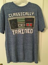NINTENDO men's tshirt Sz M blue Classically Trained videogame Remote Graphic #8