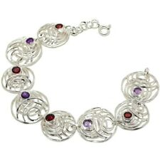 "Mozambique Garnet, Amethyst Gemstone 925 Sterling Silver Bracelet 7-8"" SB-8"