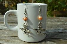 boucles d oreilles fantaisie, sorciere et perle orange