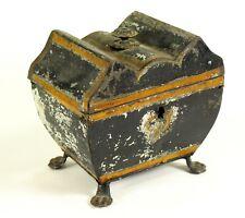 ^ Antique 1700's Georgian Black Paint Tin Tole Footed Tea Caddy Box Chest Casket
