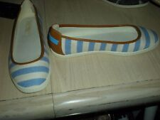 Nine West Slip On Light Blue/White Striped Brown Trim Flats Womens Size 9.5M New