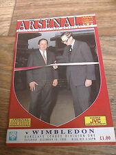 15/12/1990 Arsenal Vs Wimbledon Football Match Programme