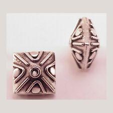 Bali Sterling Silver 11mm Square Bead B910  (1) Diagonal Lines