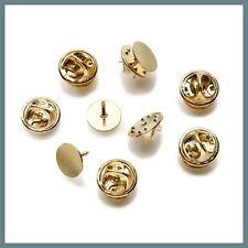 144 Gold Brass TIE TACKS Lapel Scatter Pin 10mm pad~9mm post +Backs Nickel-Free