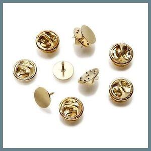 144 Gold Brass TIE TACKS Lapel Scatter Pin 10mm pad~8mm post +Backs Nickel-Free