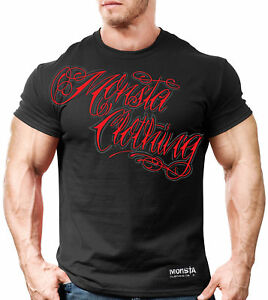 NEW Men's Monsta Clothing Tattoo Script Logo Bodybuilding Gym Tee: Black