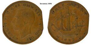 1945 Great Britain half penny, error, double clipped