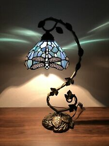 "Tiffany Style Table Lamp Dragonfly Sea Blue Stained Glass  Antique Vintage 21""H"