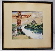 Antique Vintage Watercolor Gouache Native American Northwest Coast Totem Pole
