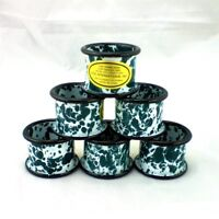 Lot of 6 Hunter GREEN and WHITE Enamelware Napkin Rings NEW w HTF Black Trim