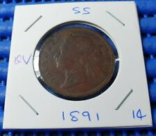 1891 Straits Settlements Queen  Victoria One Cent Coin