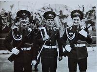 Three Young Men Handsome Soviet army Dress Uniform military school USSR Photo