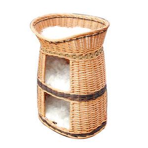 Three tiers wicker pet house, Handmade dog cat basket