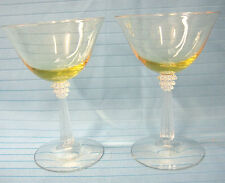 Crystal Glass Footed Cocktail Wine Goblets Lot of 2 Clear & Yellow Glass