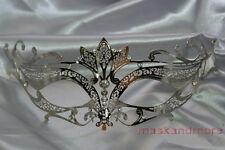 LASER CUT Metal Venetian Masquerade Costume Prom Party Wedding Silver Fox Mask