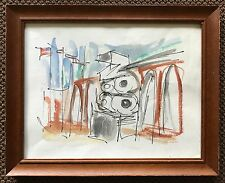 Vtg 60s Ink Watercolor St. Louis Zoo Retro Art Wall Hanging Abstract Mid Century