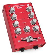 Compact Dj Mixer PA Mixing Unit Disco 2 Channels Gain EQ Microphone Jack In Red
