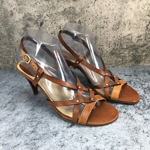 Cole Haan Women's Brown Leather Slingback Strappy Studed Heel Pump Sandals Sz 8